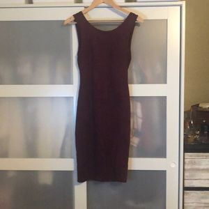 Red faux Suede low back dress